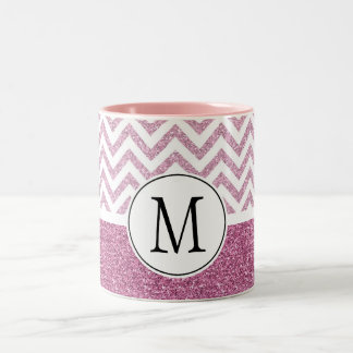 Pink Glam Faux Glitter Chevron Two-Tone Coffee Mug