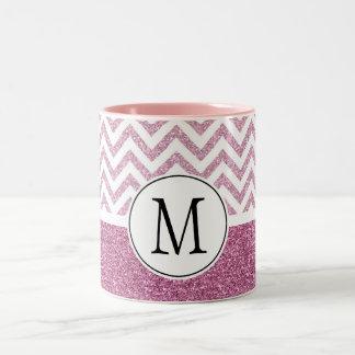 Pink Glam Faux Glitter Chevron Two-Tone Coffee Mug