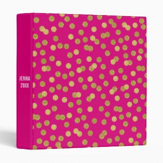 Pink Glam Faux Gold Confetti Custom 3 Ring Binder