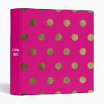 Pink Glam Faux Gold Polka Dot Custom 3 Ring Binder