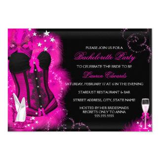 "Pink Glam Feather Corset Bachelorette Party Invite 5"" X 7"" Invitation Card"