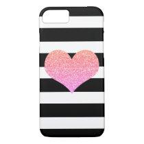 Pink Glam Heart Black/White Stripe iPhone 7 Case