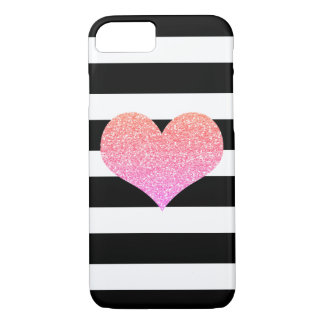 Pink Glam Heart Black/White Stripe iPhone 7 Case