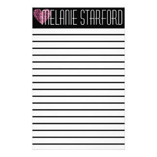 Pink Glam Heart Lined Stationary Stationery