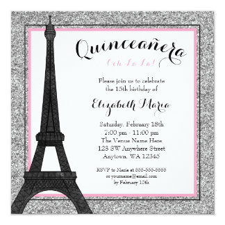 Pink Glam Paris Faux Silver Glitter Quinceanera Card