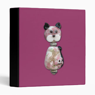 Pink Glass-Bead Cat 3 Ring Binder