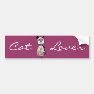 Pink Glass-Bead Cat Bumper Sticker