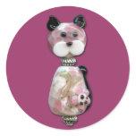 Pink Glass-Bead Cat Classic Round Sticker