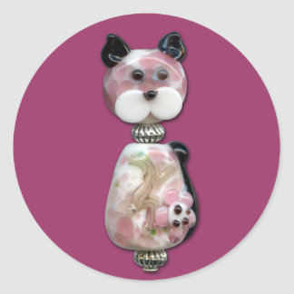 Pink Glass-Bead Cat Classic Round Sticker