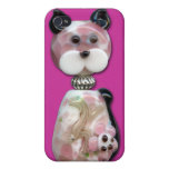 Pink Glass-Bead Cat Cover For iPhone 4