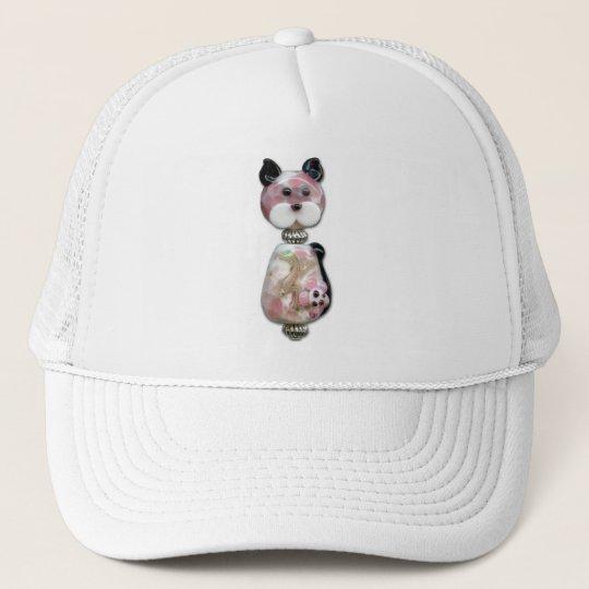 Pink Glass-Bead Cat Trucker Hat