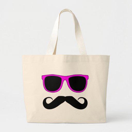 Pink Glasses Mustache Retro Bags