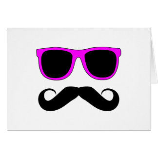 Pink Glasses Mustache Retro Greeting Card