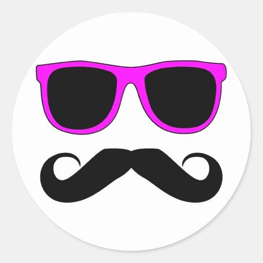 Pink Glasses Mustache Retro Classic Round Sticker