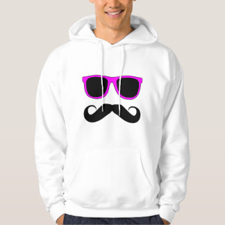 Pink Glasses Mustache Retro Hoodie