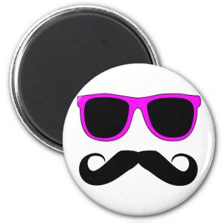 Pink Glasses Mustache Retro Fridge Magnets