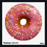 "Pink glazed donut with sprinkles wall sticker<br><div class=""desc"">Pretty pink glaze donuts with sprinkles.</div>"