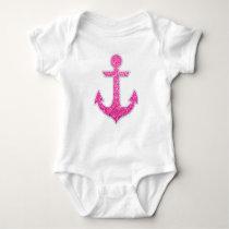 Pink glitter anchor baby bodysuit