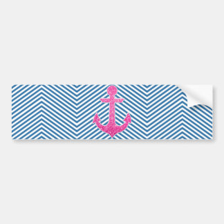 Pink glitter anchor blue chevron bumper sticker