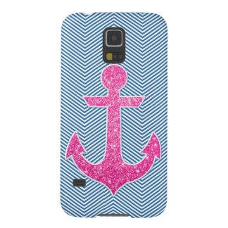 Pink glitter anchor blue chevron galaxy s5 case