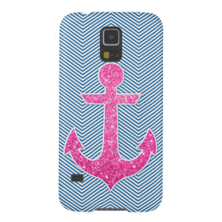 Pink glitter anchor blue chevron galaxy s5 cover