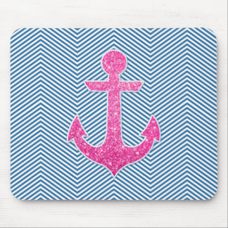Pink glitter anchor blue chevron mouse pad