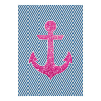Pink glitter anchor blue chevron poster