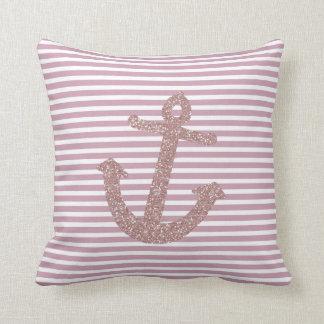 Pink Glitter Anchor Throw Pillow