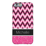 Pink Glitter and Black Chevron iPhone 6 Case