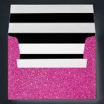 "Pink Glitter and Black White Stripes Envelope<br><div class=""desc"">Girly pink glitter with black and white stripes.</div>"