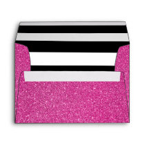 Pink Glitter and Black White Stripes Envelope