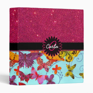 Pink Glitter and Colorful Butterfly Monogram 3 Ring Binder
