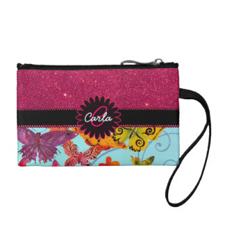 Pink Glitter and Colorful Butterfly Monogram Change Purse