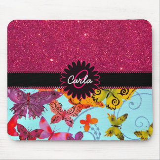 Pink Glitter and Colorful Butterfly Monogram Mouse Pad