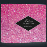 """Pink Glitter and Glamour Personalized Binder<br><div class=""""desc"""">Coordinates with the Pink Glitter and Glamour Beauty Business Card Template by 1201AM. A bright pink glittery background image provides a fun and girly backdrop to this beauty-themed personalized binder. Your name or business name is elegantly styled in a faux silver trimmed nameplate for a classy logo. &#169; 1201AM CREATIVE...</div>"""