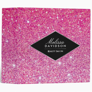 Pink Glitter and Glamour Personalized Binder