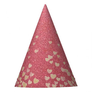 Pink Glitter and Hearts Party Hat