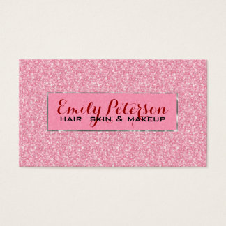 Pink Glitter And Metallic Silver Accents Business Card