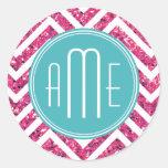 Pink Glitter and Mint Custom Monogram Classic Round Sticker