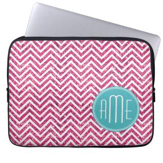 Pink Glitter and Mint Custom Monogram Computer Sleeve