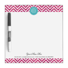 Pink Glitter and Mint Custom Monogram Dry Erase Board at Zazzle
