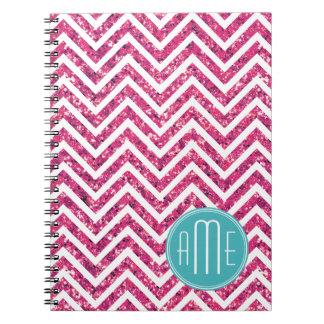 Pink Glitter and Mint Custom Monogram Spiral Note Books