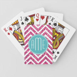 Pink Glitter and Mint Custom Monogram Playing Cards