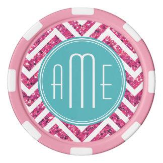 Pink Glitter and Mint Custom Monogram Set Of Poker Chips