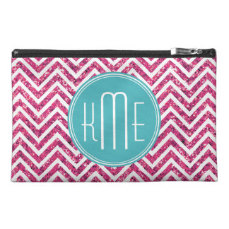 Pink Glitter and Mint Custom Monogram Travel Accessory Bag