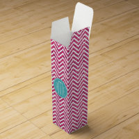 Pink Glitter and Mint Custom Monogram Wine Box