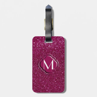 Pink Glitter and Monogram Travel Bag Tag