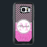 "Pink Glitter and Pink Polka Dots on gray Named OtterBox Samsung Galaxy S7 Edge Case<br><div class=""desc"">Pink Glitter and Pink Polka Dots on gray Monogrammed and Named case. Pretty, modern hot pink glitter above (printed photo effect) WITH pink and gray dotted pattern, monogrammed and named with your name. At the middle Name &amp; Monogram Initial on white label with dotted circles and at the below trendy...</div>"