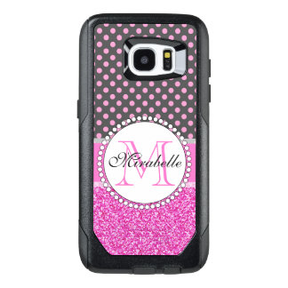 Pink Glitter and Pink Polka Dots on gray Named OtterBox Samsung Galaxy S7 Edge Case