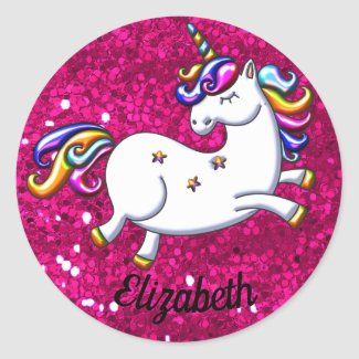 Pink Glitter and Unicorn Classic Round Sticker
